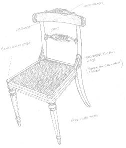 Sketch of antique chair